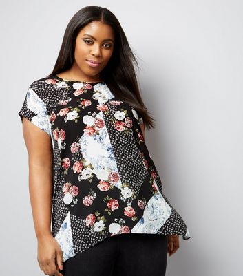 Curves Black Spliced Floral Print Jersey Back T-Shirt