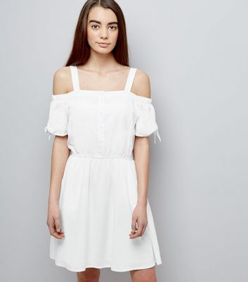 Teens White Button Front Cold Shoulder Dress