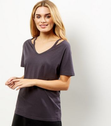 Dark Grey Cut Out Trim T-Shirt