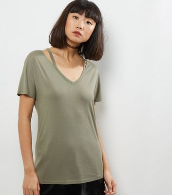Olive Green Cut Out Neck Short Sleeve T-Shirt