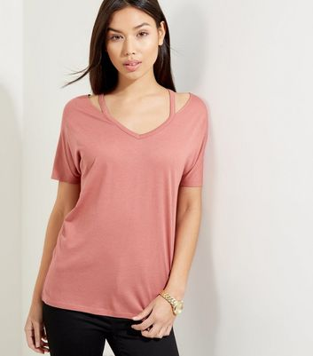 Deep Pink Cut Out Trim T-Shirt