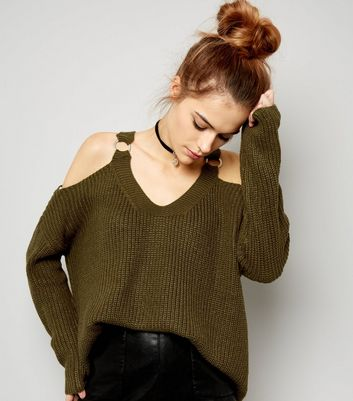 Khaki D Ring V Neck Cold Shoulder Jumper