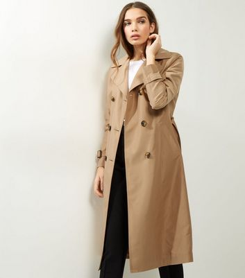Camel Double Breasted Tie Waist Trench Coat