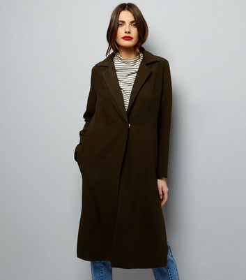 Khaki Textured Maxi Duster Coat