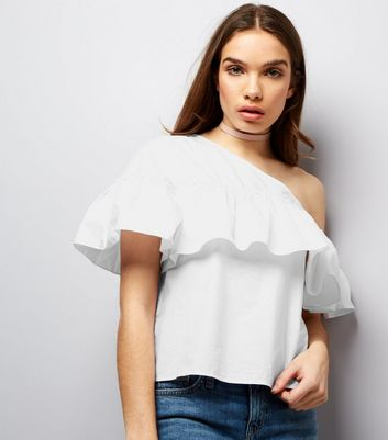 Noisy May White Frill Trim Off The Shoulder Top