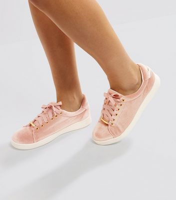 Pink Velvet Lace Up Trainers