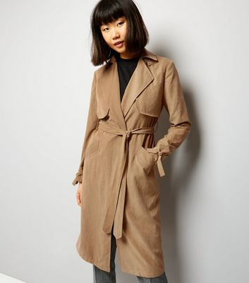 Tan Button Neck Trench Coat