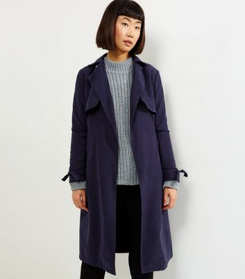 Navy Button Neck Trench Coat