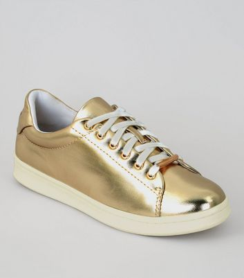 Gold Metallic Lace Up Trainers