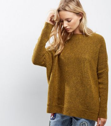 Olive Green Ribbed Long Sleeve Jumper