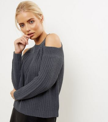 Noisy May Navy Cold Shoulder Knitted Top