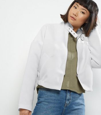 Noisy May White Biker Jacket