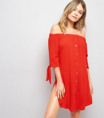 Red Bardot Neck Beach Dress