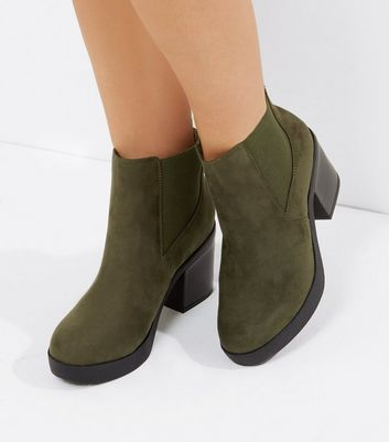 Wide Fit Khaki Suedette Heeled Boots