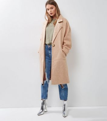 Pink Roll Sleeve Longline Coat