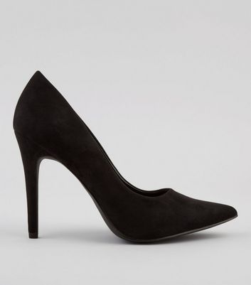 Black Suedette Pointed Court Heels