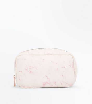 Pink Marble Print Make Up Bag