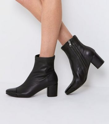 Black Leather Contrast Toe Cap Boots