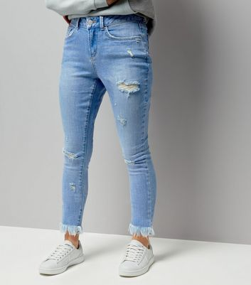 Teens Blue Ripped Extreme Frayed Hem Skinny Jeans
