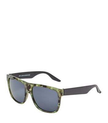 Khakifarbene Sonnenbrille mit Camouflage-Muster