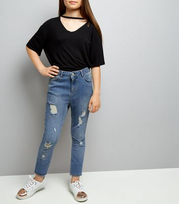 Teens Blue Extreme Ripped Skinny Jeans