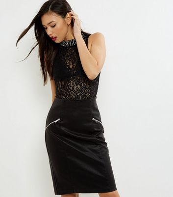 Black Zip Trim Leather-Look Pencil Skirt