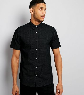 Navy Dash Print Short Sleeve Shirt