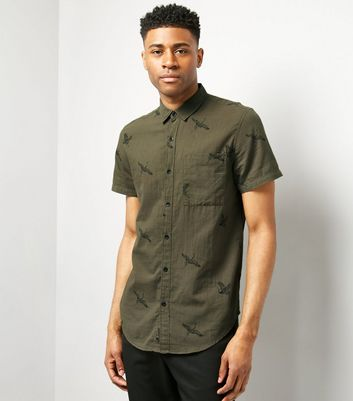 Khaki Bird Print Short Sleeve Shirt
