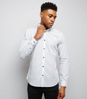White Stripe Collar Long Sleeve Shirt
