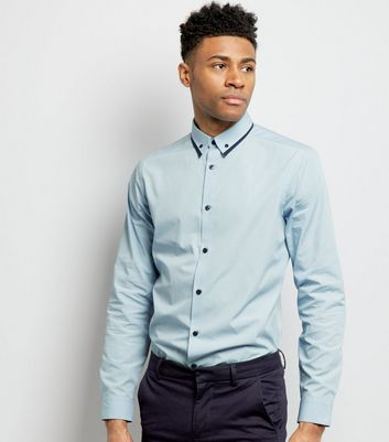 Pale Blue Stripe Collar Long Sleeve Shirt