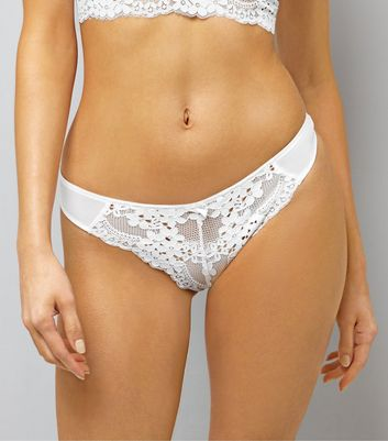 White Daisy Lace Thong