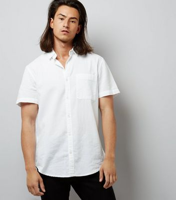 White Textured Short Sleeve Shirt