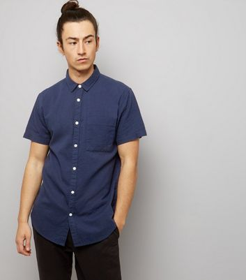 Navy Textured Short Sleeve Shirt