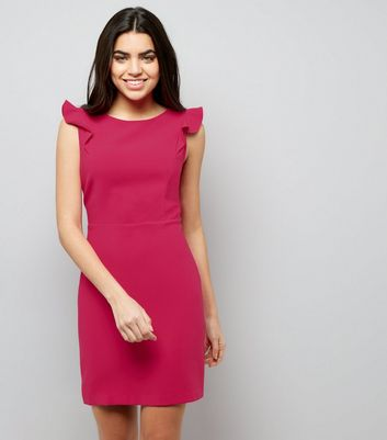 Bright Pink Frill Trim Shoulder Dress