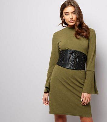 Khaki Scuba Split Bell Sleeve Tunic Dress