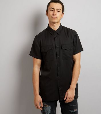 Black Short Sleeve Utility Shirt