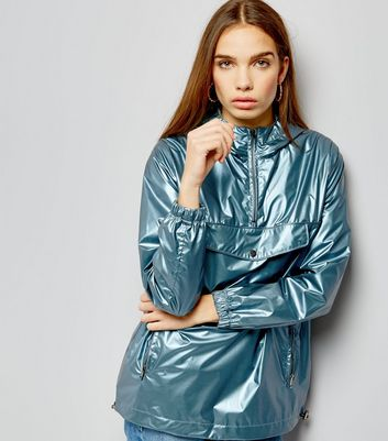 Überzieh-Anorak in Blau-Metallic