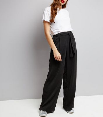 Tall Black Tie Waist Wide Leg Trousers