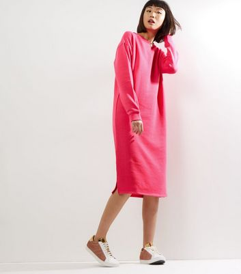 Bright Pink Long Sleeve Longline Sweater