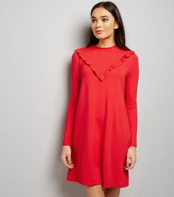 Robe rouge en jersey à volants