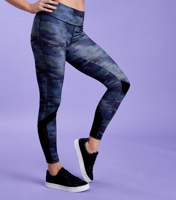 Green Camo Print Mesh Hem Sports Leggings