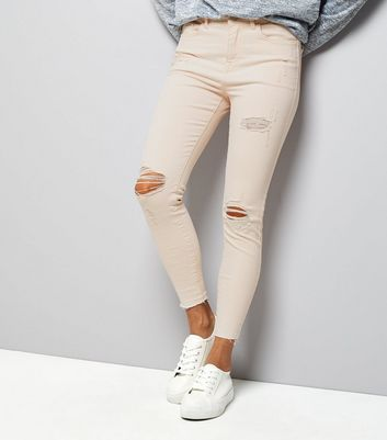 Petite Shell Pink Ripped Knee Skinny Jeans