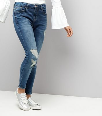 Petite Blue Washed Ripped Skinny Jenna Jeans