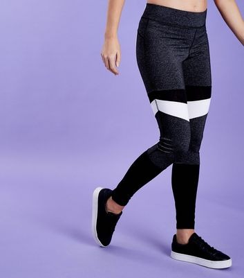 Schwarze Sportleggings in Blockfarben