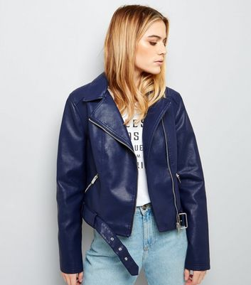Navy Leather-Look Cropped Biker Jacket