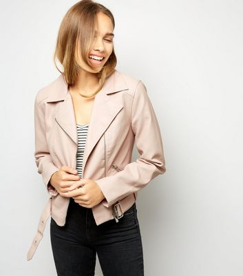 Shell Pink Leather-Look Cropped Belted Biker Jacket