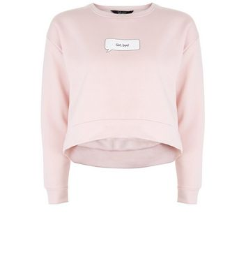 Ados - Sweat court rose avec slogan « Girl Bye »