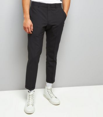 Navy Pinstripe Cropped Slim Leg Tailored Trousers