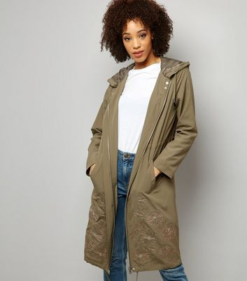 Khaki Floral Embroidered Hooded Duster Coat