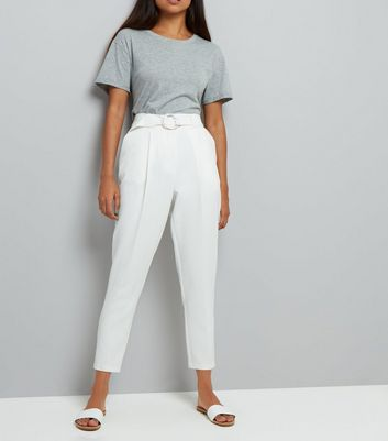 Petite White Circle Belt Slim Leg Trousers